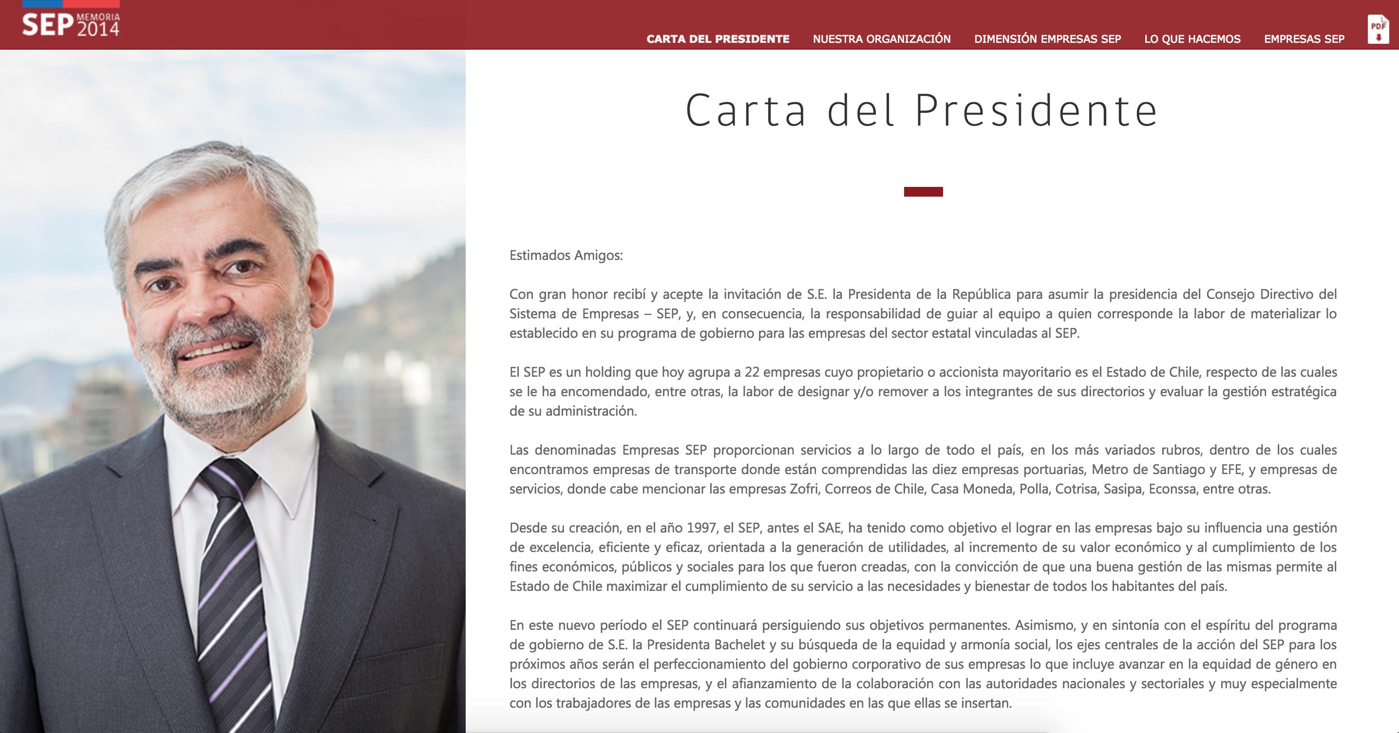 Carta  - Memoria 2014 SEP